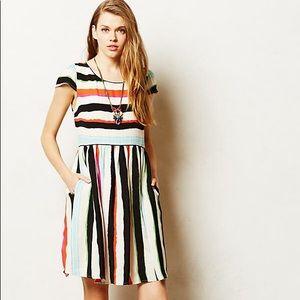 EUC Anthro Maeve striped capped sleeve dress 12